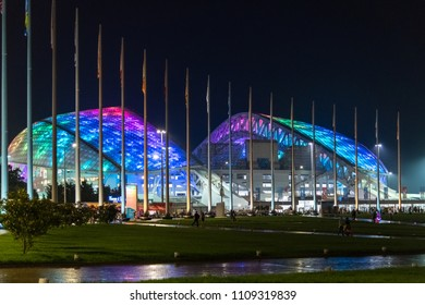 Sochi, Russia - May 29. 2018. Fisht is football stadium in the evening with lights