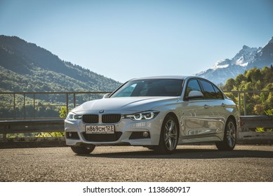 Sochi, Russia - May 3 2018: BMW 3 series on the background of mountains