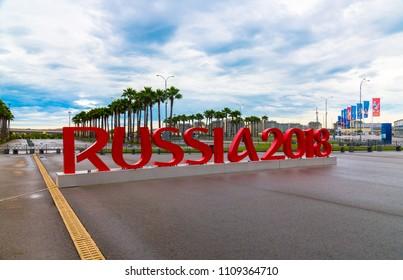 Sochi, Russia - May 30. 2018. installation of inscription symbolizes FIFA World Cup 2018