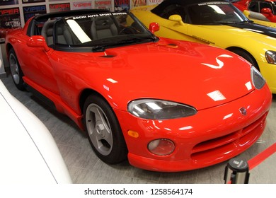 Sochi, Russia -  November  08.2018, Dodge Viper RT/10 in the museum of automobile sports in the Olympic Park of Sochi.
