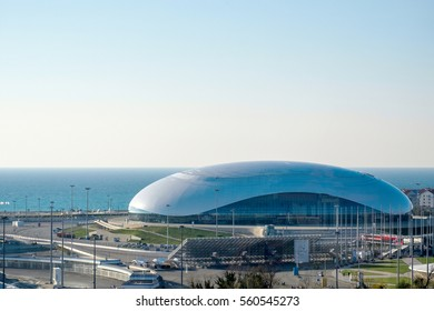 Sochi, Russia - November 27: Olympic park landscape on 27 November, 2016 in Sochi, Russia. It as constructed for the 2014 Winter Olympics and 2014 Winter Paralympics.