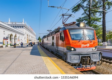 Sochi, Russia, October 04, 2019: Passenger double deck train number 103 is ready to depart from the main railway station.