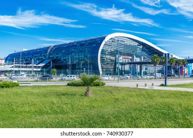 Sochi, Russia - October 06, 2017: Exterior of the Adler railway station.