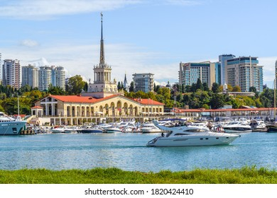 SOCHI, RUSSIA - OCTOBER 07, 2019: Building of a seaport, main city's marine station on the Black Sea. It was built in 1955 and located in the Central District of Sochi.