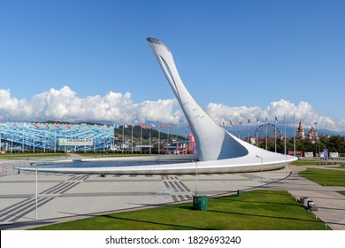 SOCHI, RUSSIA - OCTOBER 12, 2019: The Bowl of the Olympic Flame located in the Olympic Park of Sochi. It was built in 2013 in preparation for the XXII Winter Olympic Games.