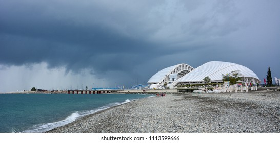 Sochi, Russia / October 14, 2017: View of Fisht Olympic Stadium, a venue for the FIFA World Cup 2018, from the Black Sea beach, Sochi, Russia