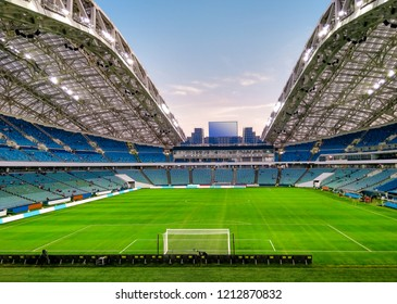 SOCHI, RUSSIA - October 14, 2018: Football playing field in Fisht Olympic Stadium