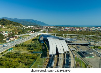Sochi, Russia - October 2019: aerial view of the Olympic Park train station