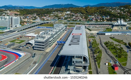 Sochi, Russia - October 2019: panoramic view - Sochi Autodrom in the Olympic Park, aerial photography