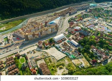 SOCHI, RUSSIA - Sep 05 2016: 4k, aerial view on Rosa Khutor Alpine ski Resort in Krasnaya Polyana, Sochi, Russia