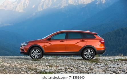 Sochi, RUSSIA - September 17, 2017: Presentation of new LADA VESTA SW and SWC - Sport Wagon Cross. Test Drive in Sochi Olympic Park, Krasnaya Polyana, Rosa Khutor at the Kavkaz mountains and Black