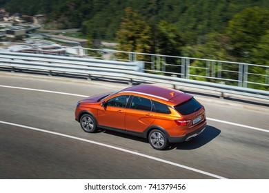 Sochi, RUSSIA - September 21, 2017: Presentation of new LADA VESTA SW and SWC - Sport Wagon Cross. Test Drive in Sochi Olympic Park, Krasnaya Polyana, Rosa Khutor at the Kavkaz mountains and Black Sea