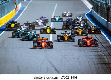 Sochi, Russia - September 26-29, 2019: start of the Formula 1 Race, Russian Grand Prix. Ferrari cars in front line.