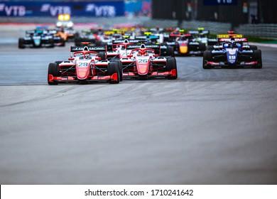 Sochi, Russia - September 26-29, 2019: start of the F3 junior Formula race. Sochi Autodrom