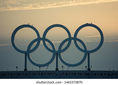 Sochi, Russia-October 8, 2016: Olympic rings at sunset.