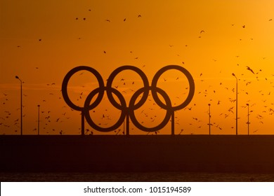 SOCHI/RUSSIA - 01/07/2017: Symbol of the Olympic Games on the quay near the sea