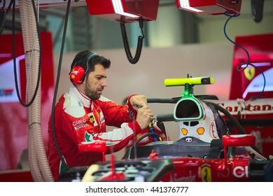 SOCHI/RUSSIA - APRIL 30, 2016; The Russian Formula 1 Grand prix. At the Scuderia Ferrari team garage.