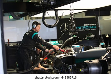 SOCHI/RUSSIA - APRIL 30, 2016; The Russian Formula 1 Grand prix.  At the Mercedes AMG Petronas team garage.