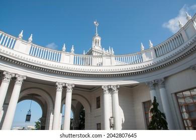 Sochi-Russia-01.09.2021: The railway station of the Sochi station of the North Caucasus Railway.