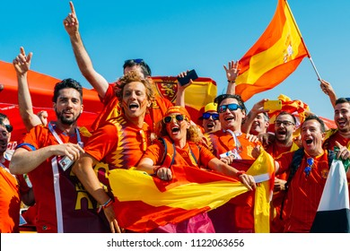 SOCHI,RUSSIA-JUNE 15,2018: FIFA World Cup, Olympic Park crouded before match Spain-Portugal.Frantic, happy, screaming Spanish fans, supporters ready for cheering for Spain on a football match.