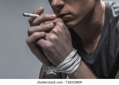 Social advertisement about nicotine addiction concept