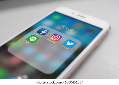 social application on mobile, facebook, instagram, twitter, line.