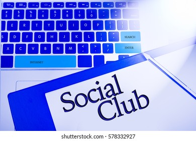 Social club word in business concepts, technology background in laptop and notepad
