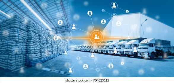 Social connection and networking for distribution of goods in warehouse process , Logistic Import Export background