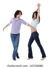 Social dance West Coast Swing. Demonstration of a turning pose.