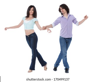 Social dance West Coast Swing. Demonstration of a mirroring pose.