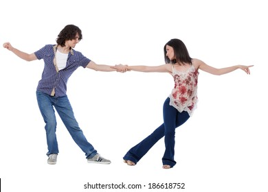 Social dance West Coast Swing. Demonstration of a leverage pose.