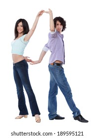 Social dance West Coast Swing. Demonstration of a back to back pose.
