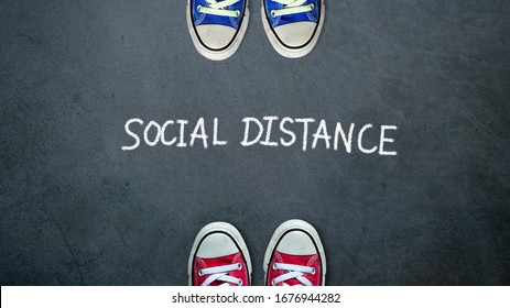 Social distance. two people keep spaced between each other for social distancing, increasing the physical space between people to avoid spreading illness during transmission of COVID-19 outbreak