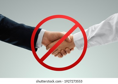 Social distancing banner, handshake is prohibited. Prohibition sign concept, hygiene measures, COVID-19, business