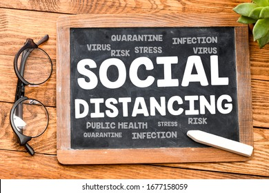 SOCIAL DISTANCING concept. The word social distancing written on a blackboard.