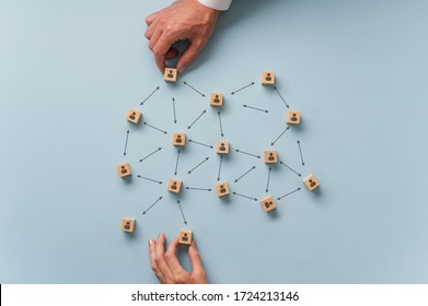 Social distancing conceptual image - male and female hands placing wooden blocks with person icon on them in a recommended distance between them.