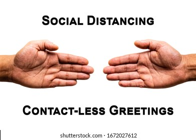 Social distancing and contact-less greetings. Two hands that are not touching one another. Public health concept.