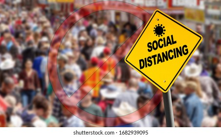 Social distancing warning sign with prohibition symbol over a packed crowd. Concept of staying physically apart for infection control intended to stop or slow down the spread of COVID-19 coronavirus.