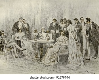 """Social events in a luxurious house - illustration by artist A.P. Apsit from book """"Leo Tolstoy """"War and world"""", publisher - """"Partnership Sytin"""", Moscow, Russia, 1914."""