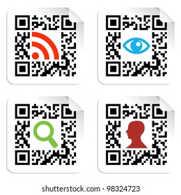 Social icons in labels set with QR codes sign.