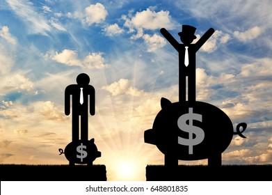 Social inequality and capitalism . Poor and rich flat icons of people standing on the piggy banks and gap between them