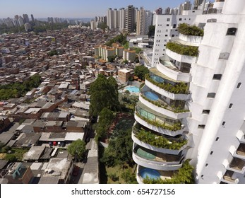 A social inequality icon in São Paulo, Brazil's biggest city: The Paraisópolis Favela and the luxury buildings