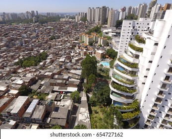 A social inequality icon in São Paulo, Brazil's biggest city: The Paraisópolis Favela and the luxury buildings.