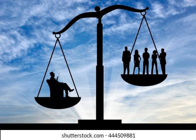 Social inequality . Social inequality on the scales of justice between the rich and ordinary people