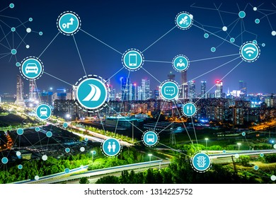 Social infrastructure and communication technology concept. IoT(Internet of Things). Autonomous transportation