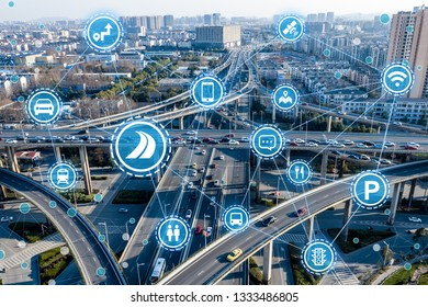 Social infrastructure and communication technology concept. IoT(