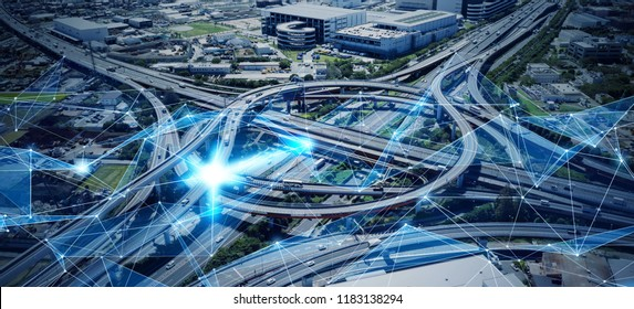Social infrastructure and communication technology. IoT(Internet of Things). Autonomous transportation.  - Shutterstock ID 1183138294