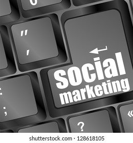 social marketing or internet marketing concepts, with message on enter key of keyboard, raster