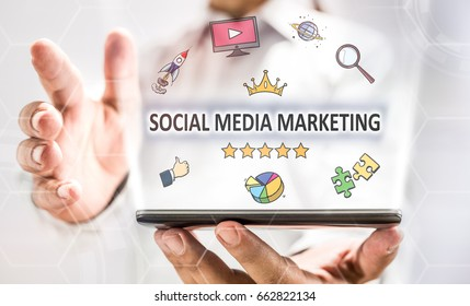 Social Medi Marketing With Smart Phone On Businessman's Hand