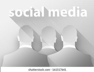 Social media, 3d illustration flat design